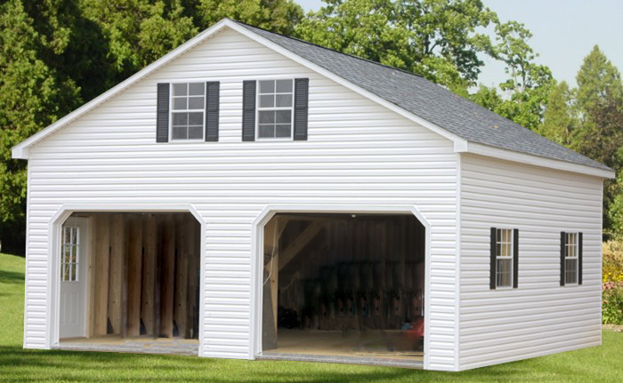 Double wide garage waterloo structures storage sheds for 2 story double wide